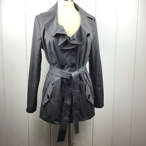 Sandro Dark Gray Ruffled Collar Belted Trench L